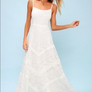 Lulu's Faithfully Yours Lace Backless Maxi Dress